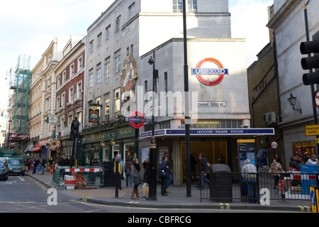 leicester square underground station on charing cross road in theatreland west end london england uk united kingdom - Stock Photo