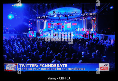 2012 Republican National Security Debate on CNN television news November 22, 2011 - Stock Photo