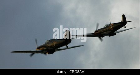 Hurricane, Spitfire, Battle of Britain Flight, Little Britain Cup, Cowes, Isle of Wight England - Stock Photo
