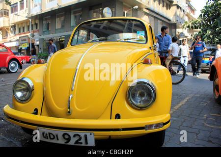 Volkswagen Beetle in Mumbai India - Stock Photo