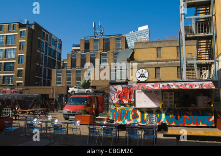 Puma court square with asian food stall Shoreditch east London England UK Europe - Stock Photo