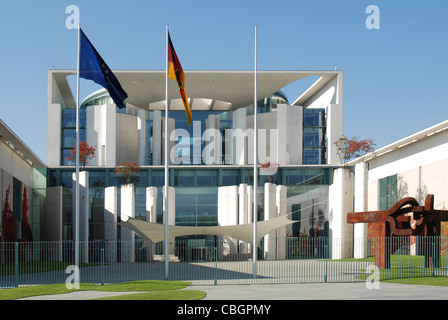 German Federal Chancellery in Berlin with the steel sculpture of the Basque sculptor Eduardo Chillida. - Stock Photo