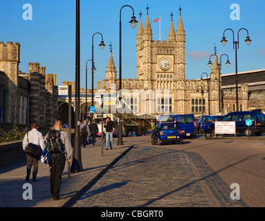 Forecourt of Temple Meads railway station in Bristol - Stock Photo