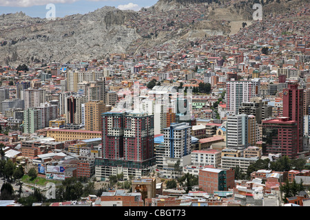 View over skyscrapers in the city La Paz and surrounding mountains, Bolivia - Stock Photo