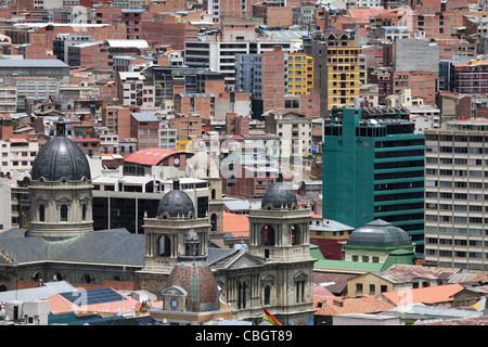 View over apartments and flats in the city La Paz and the San Francisco Cathedral, Bolivia - Stock Photo
