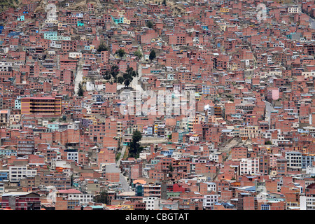 View over flats and apartments of the city La Paz, Bolivia - Stock Photo