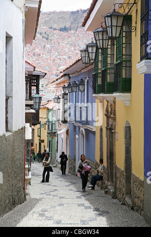 Calle Jaen, a colonial street in Spanish style in La Paz, Bolivia - Stock Photo