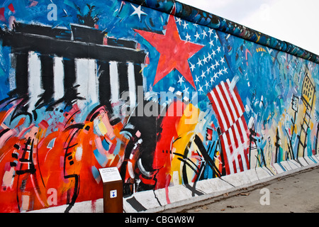 The East Side Gallery's murales are the street-art in Berlin, painted on their own famous wall - Stock Photo
