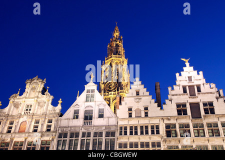 Guild house Facades at the Grote Markt square, Antwerp, Flanders, Belgium, Europe, - Stock Photo