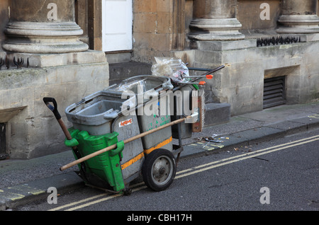 Street cleaner in Bath, England - Stock Photo