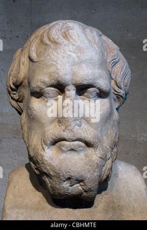 Bust of Greek Sage, Pittacus, Louvre Museum, Paris, France - Stock Photo