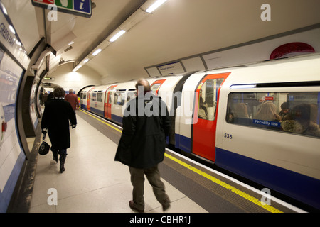green park london underground station with piccadilly line train at platform england united kingdom uk - Stock Photo