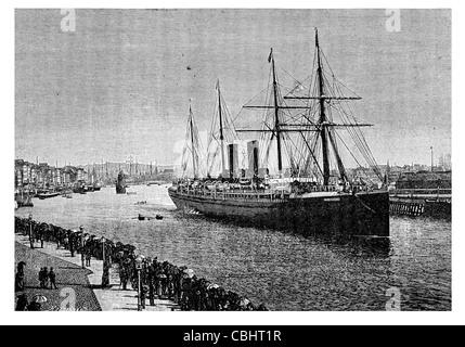 The Transatlantic Mail steamer Gascony  port Le Havre dock harbout quay liner - Stock Photo
