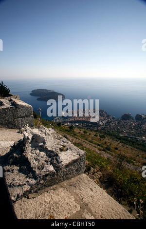 DUBROVNIK FROM IMPERIAL FORTRESS MOUNT SRD OLD TOWN DUBROVNIK CROATIA 05 October 2011 - Stock Photo