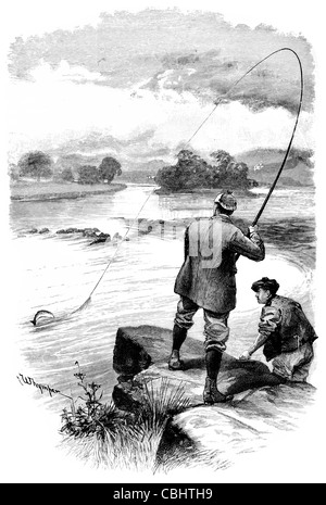 River Shannon Ireland Castle Connell ruined Limerick ruin ruins fishing angler angling fisherman tweed tartan fly - Stock Photo