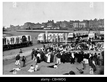Margate seaside town Kent England Maidstone Cliftonville Garlinge Palm Bay Westbrook bathing machines swimming swimmer - Stock Photo