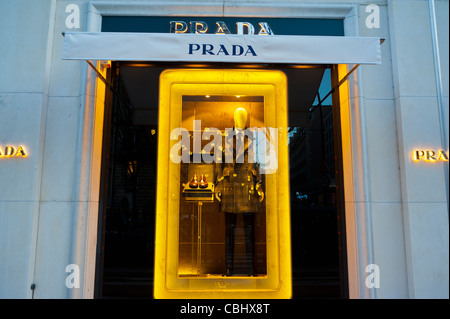 Paris, France, Luxury Shopping, Prada Luxury Clothing Store, Shop Front, Window Display 'Avenue Montaigne' fashion - Stock Photo