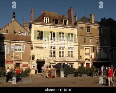 Restaurant Le Parvis near Notre-Dame de Chartres cathedral,Chartres,Eure-et-Loire, France - Stock Photo