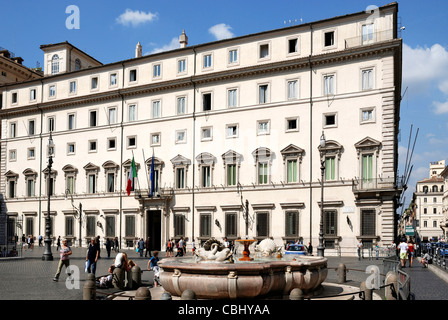 Palazzo Chigi in Rome - Residence of the Italian Prime Minister. - Stock Photo