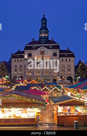 Christmas Market in front of the town hall, Lueneburg, Lower Saxony, Germany - Stock Photo
