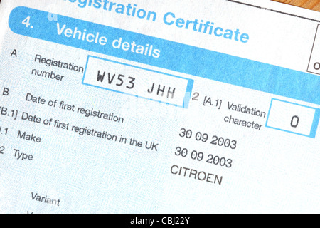 V5c Car Registration Certificate Document Log Book Owner Ownership