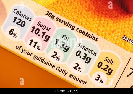 GDA food cereal nutrition contents calories sugar fat saturates salt content - Stock Photo