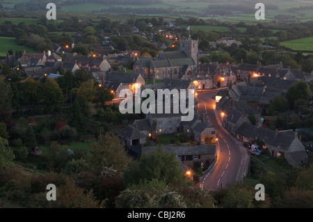 The view from East Hill, overlooking the picturesque Purbeck village of Corfe Castle and the surrounding countryside - Stock Photo