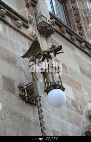 Ornate Lamp, Palacio Postal, Post Office Palace, Historic Center, Mexico City, Mexico - Stock Photo