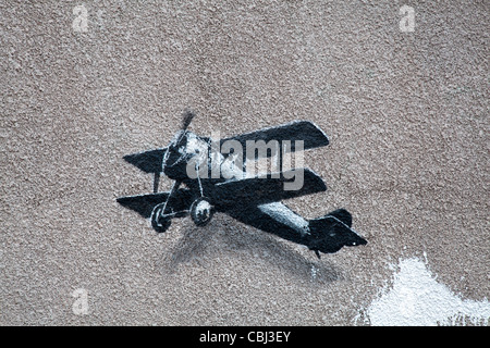 ' Love Plane' New Banksy artwork, the painting believed to be by the street artist Banksy has appeared in Liverpool - Stock Photo