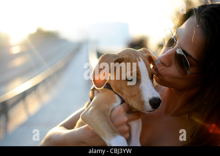 MR Young attractive spanish girl holding her puppy - Stock Photo