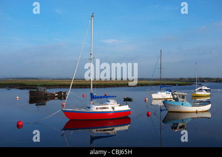 Yachts and boats at rest in Irvine harbour, Ayrshire, Scotland - Stock Photo
