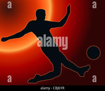 Sunset Back Sport Silhouette Soccer player kicking ball - Stock Photo