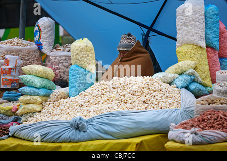 Bags with popcorn on sale at market in Copacabana, Bolivia - Stock Photo