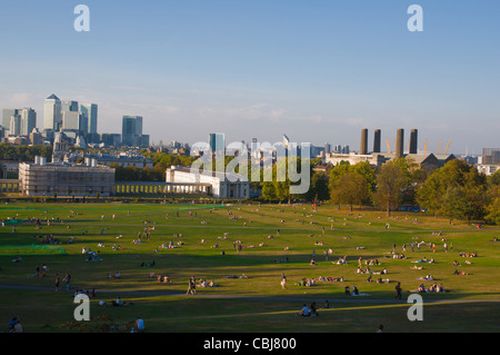 Royal park Greenwich borough with view towards Canary Wharf London England UK Europe - Stock Photo