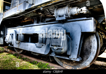 The wheels of a locomotive sitting on a track - Stock Photo