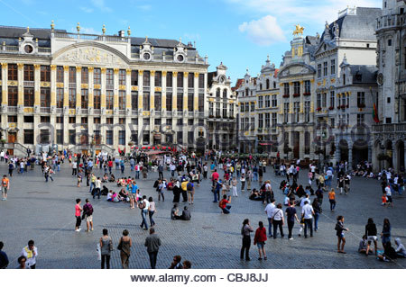 People at the Grand Place, Grote Markt square at the city centre, Brussels, Belgium, Europe - Stock Photo