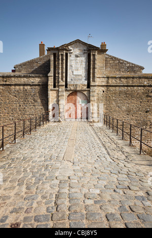 Entrance to the citadel at Port Louis, Brittany, France - Stock Photo