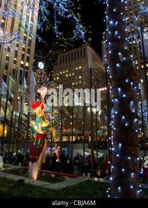 Giant Christmas Figures at Rockefeller Plaza at Christmas at Night,New York City, New York, USA, - Stock Photo