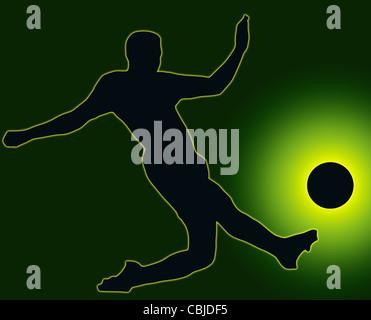Green Back Sport Silhouette Soccer player kicking ball - Stock Photo