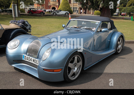A glossy light blue Aero 8 Morgan Sports car (2004 reg) on display in Bletchley Park, Bletchley. Buckinghamshire, - Stock Photo