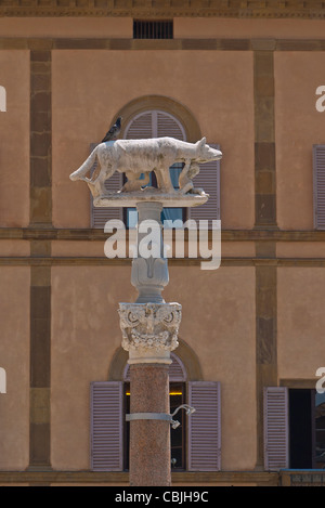 A stone column in front of the cathedral in Siena, Italy of a she-wolf suckling infants Romulus and Remus. - Stock Photo
