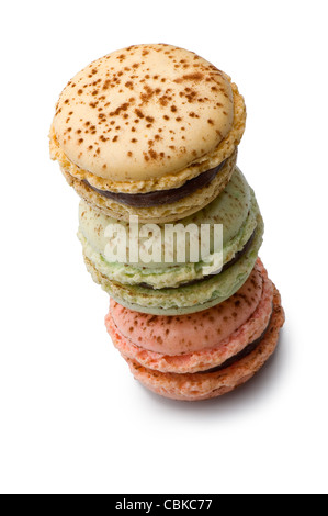 delicious macaroons stacked (clipping path) on white background - Stock Photo