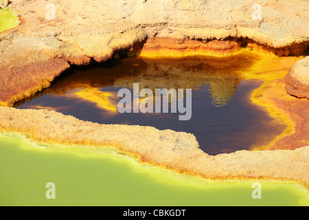January 27, 2011 - Dallol geothermal area, potassium salt deposits formed by brine hot springs, Danakil Depression, - Stock Photo