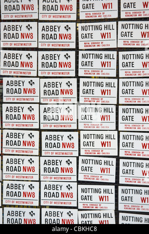 London street name magnets for sale along Portobello Road in Notting Hill district London England UK Europe - Stock Photo
