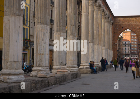 Colonne di San Lorenzo columns Corso di Porta Ticinese street Milan Lombardy region Italy Europe - Stock Photo