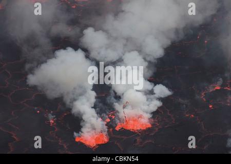 January 21, 2011 - Small fountains in lava lake, Nyiragongo Volcano, Democratic Republic of the Congo. - Stock Photo
