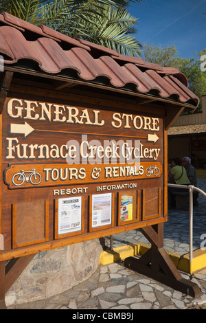 USA, California, Death Valley National Park, Furnace Creek, Furnace Creek General Store, sign - Stock Photo