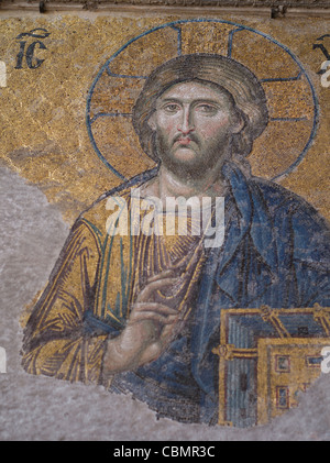 The Deësis mosaic with Christ as ruler. Mosaic in Hagia Sophia Interior ISTANBUL - Stock Photo
