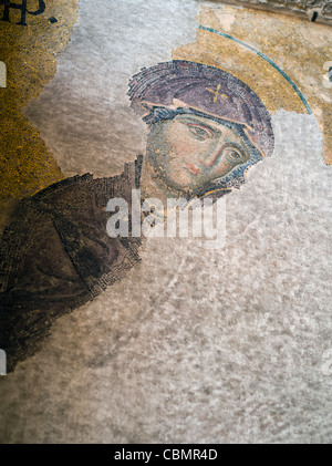 Mosaic in Hagia Sophia Interior ISTANBUL  Detail from the The Deësis mosaic showing the Virgin Mary - Stock Photo