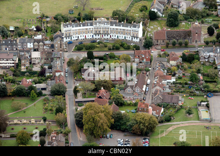 Aerial view of priory crescent in Southover High Street, Lewes, East Sussex, England - Stock Photo